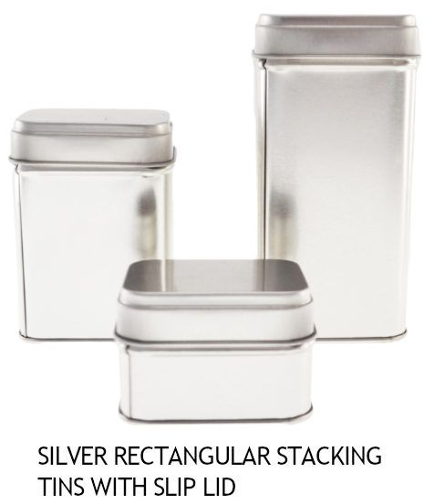 Silver Rectangular Stacking Tins with Slip Lid